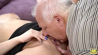 DADDY4K. Tempting chick copulates with BFs handsome dad in the bedroom