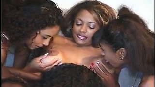 Striking ebony babes get together for a steamy lesbian orgy