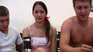 Legal age teenager doll plays with 2 schlongs