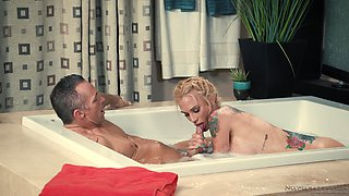 Slippery fuck with stunning blonde tattooed chick Sarah Jessie
