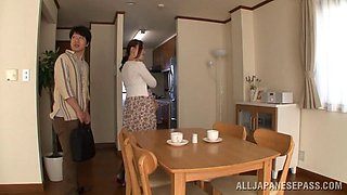 Doting Asian babe in sexy panties getting her hairy pussy licked then fingered in the kitchen