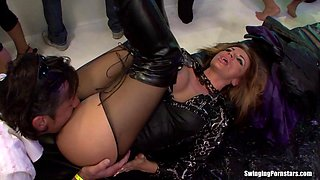 Sharka Blue in heels drinking then loving her pussy licked in group sex