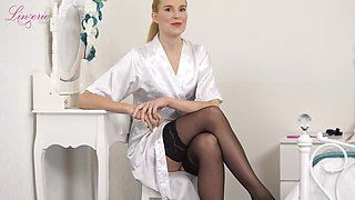 Tall elegant woman Ariel is stripping and telling erotic stories