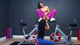 Workout turns into hot lesbian sex of delectable Latina friends