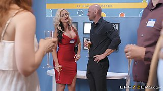 Busty MILF Alena Croft seduces and fucks a well hung dude at a party