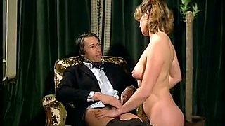 Elegant delightful light-haired babe gives a head to her boss