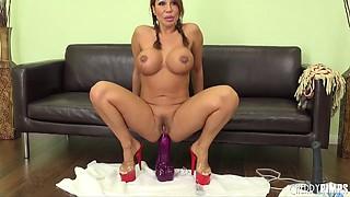 Massive dildos up the asshole of sexy Ava Devine