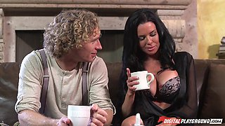 Licking whipped cream off milf Veronica Avluv and fucking her