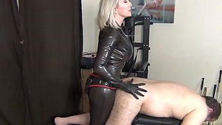 Latex strap-on fucking
