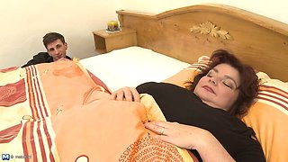 Son wakes up busty big mother ssbbw