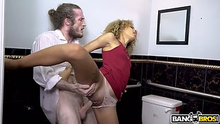 Cheating GF Xianna Hill rides waiter's cock on the toilet bowl