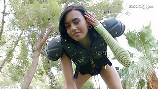Tiny slim chick Janice Griffith is playing American football and gets her pussy stretched
