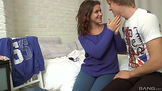 Cute brunette girl lets a hunk penetrate her tight pussy hole