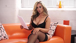 Mouth watering milf in sexy lingerie and stockings Kellie OBrian reads erotic stories