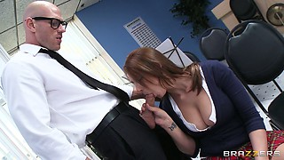 Busty babe Madison Fox plays the flute and sucks big dick of her teacher