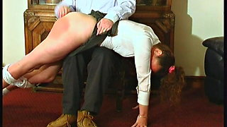 A Quick and Hard OTK Bare Bottom Spanking