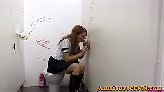 Fullyclothed schoolgirl blows gloryhole dick