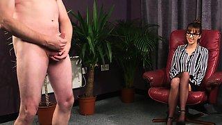 British cfnm voyeur instructing sub to tug