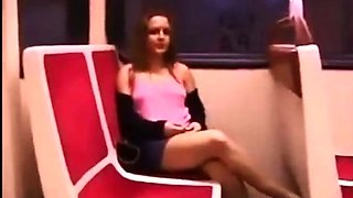 Train flashing no panties no bra