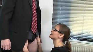 German slut Elise fucks intern in the office