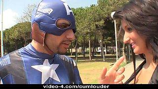 Captain America Bonks the Darksome Widow