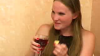 Super skinny Russian hooker Galina gets drunk and horny