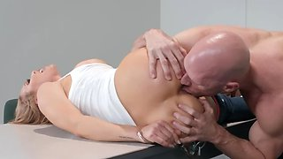 Blonde MILF is getting destroyed by her muscular husband
