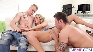 Blond babe tries another cock with her Bi boyfriend