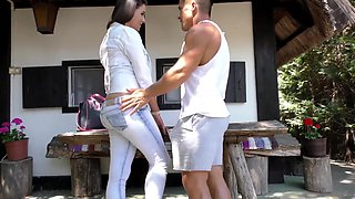 Lucky guy finally talked Cundy Loarn into fucking with him outdoors