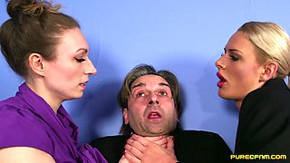 Lucky guy gets sexually abused by two hot babes