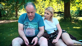 Petite teen fucked hard by grandpa on a picnic outdoors