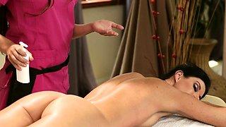 Massage milf pussylicking masseuse during 69