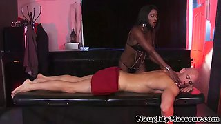 kinky oiled ebony masseuse plowed standing up