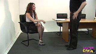 Handsome secretary gets fucked by her boss from behind and loves it