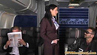 air hostesses foursome fucking on flight