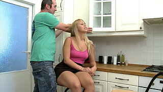 Chubby blonde Helen fucking in the kitchen