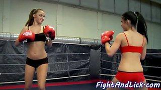 lesbian eurobabes tribbing after wrestling