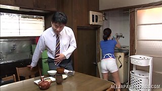 Yuuki Itano is fucked by her man after sucking his cock in the kitchen