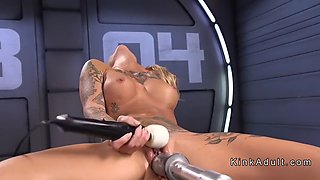 stunning blonde gets orgasm on fucking machine