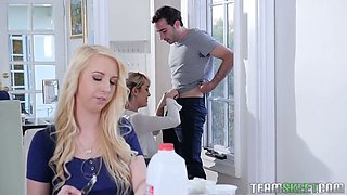 Lecherous blonde Darcie Belle invite GF for dirty and crazy sex with her boyfriend