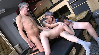 Old guy puts his dick in wet pussies of Yvonne and Lucie Jenilova