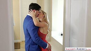 Alluring paramour in sexy stockings and red lingerie Cherie Deville goes wild on a hard penis