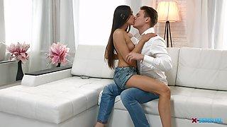 Romantic fucking session with stunning brunette Aziza