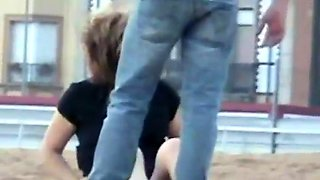 Street voyeur finds a horny amateur babe riding a hard dick