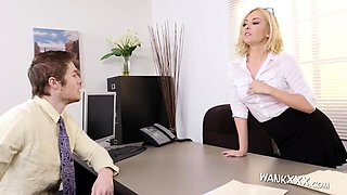 blonde babe gets screwed in her office