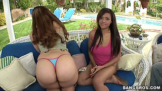 Threesome with two horny chicks with big oiled up butts