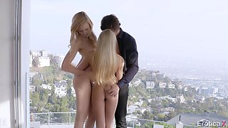 Guy Playing With Two Blonde Babes