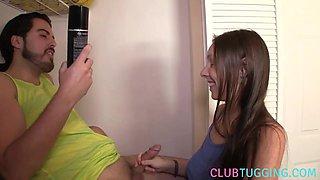 Busty teen babe uses lube for handjob