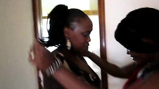 Naughty ebony stepmom seduces cute young chick and plays