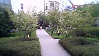 gummi rubber bitch nutte in high heels near playground